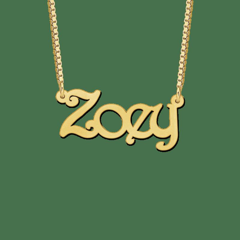 Gouden ketting met naam voorbeeld Zoey