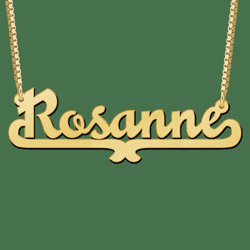 Gouden naam ketting met voorbeeld Rosanne