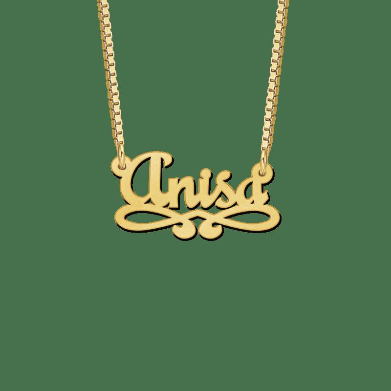 Gouden naamketting met dubbele krul voorbeeld Anisa
