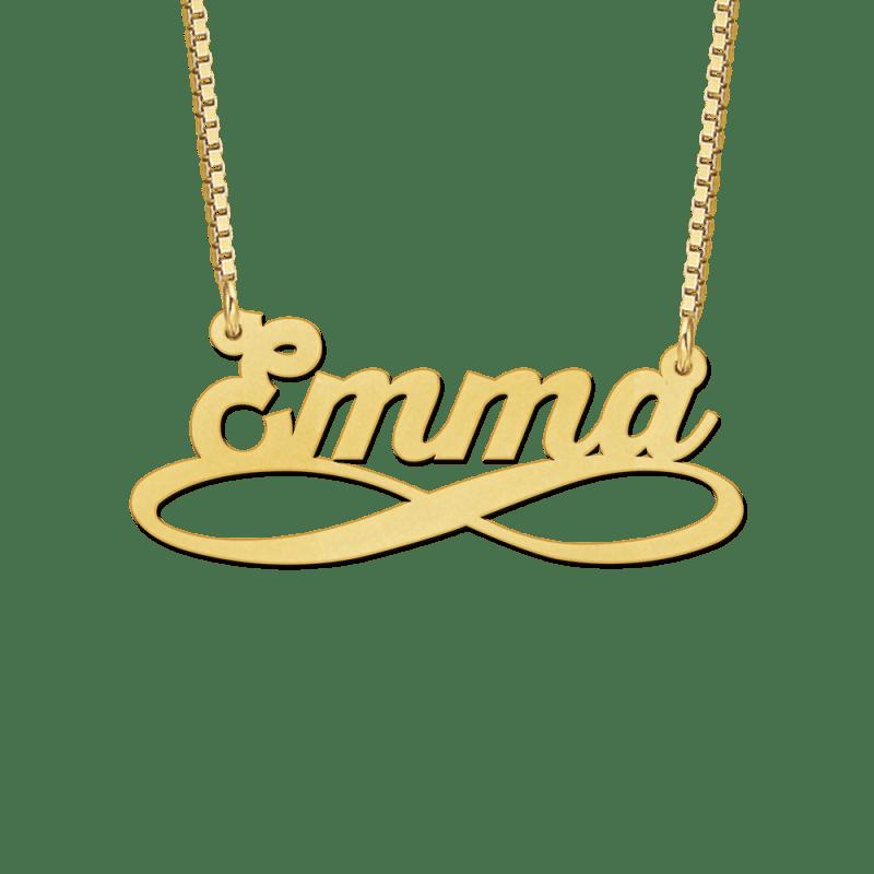 Gouden naamketting met infinityteken voorbeled Emma