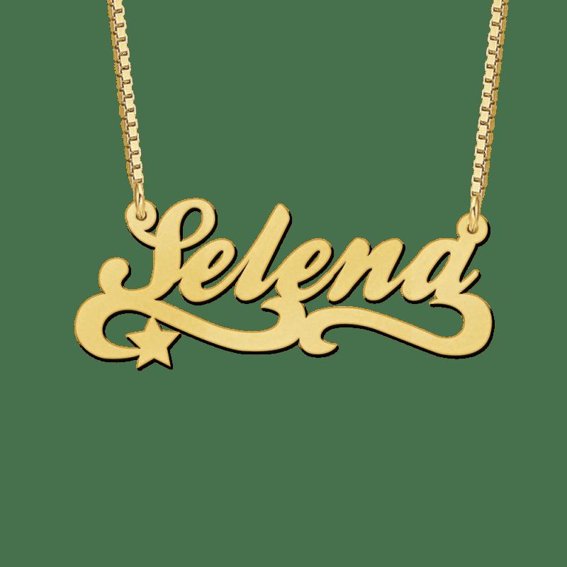 Gouden naamketting met krul en sterretje