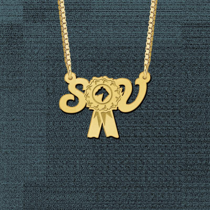 Gouden paarden rozet met initialen