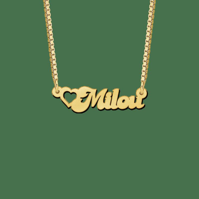 Kinder ketting met naam van goud voorbeeld Milou