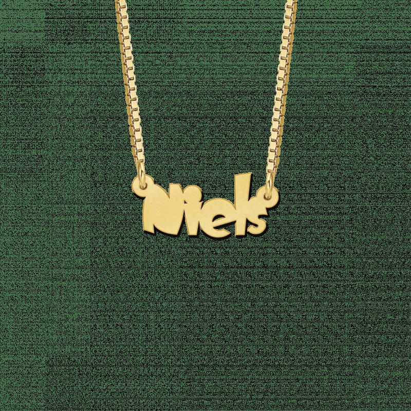 Kinder naamketting van goud voorbeeld Niels