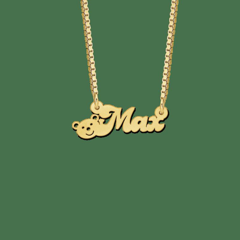 Naamketting van goud met beertje voorbeeld Max