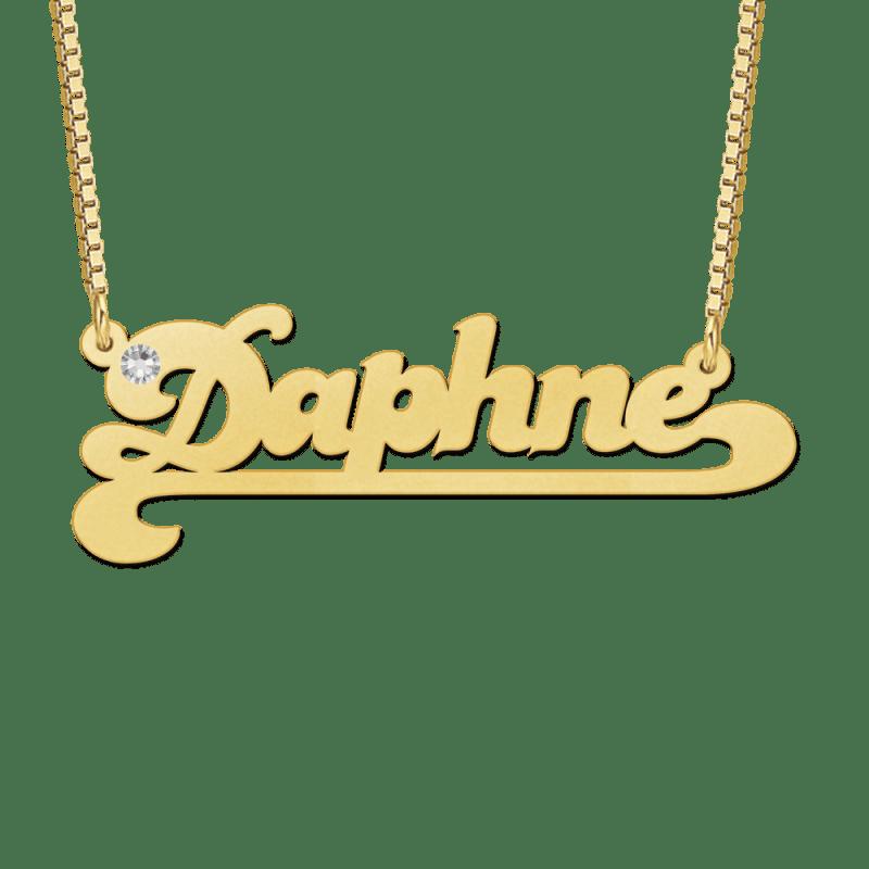 Naamketting van goud met zirkonia voorbeeld Daphne