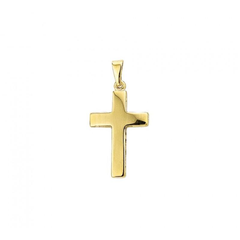 Gouden hanger kruis grof 24 mm