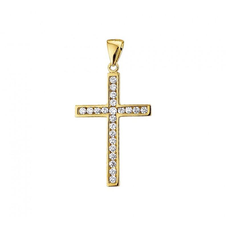 Gouden hanger kruis met zirkonia stenen massief