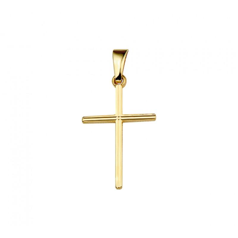 Gouden hangertje kruis massief 19 mm