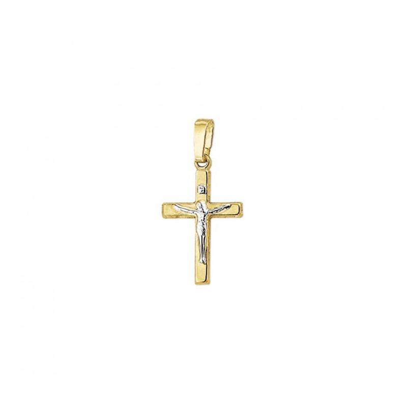 Gouden hangertje kruis met corpus bicolor
