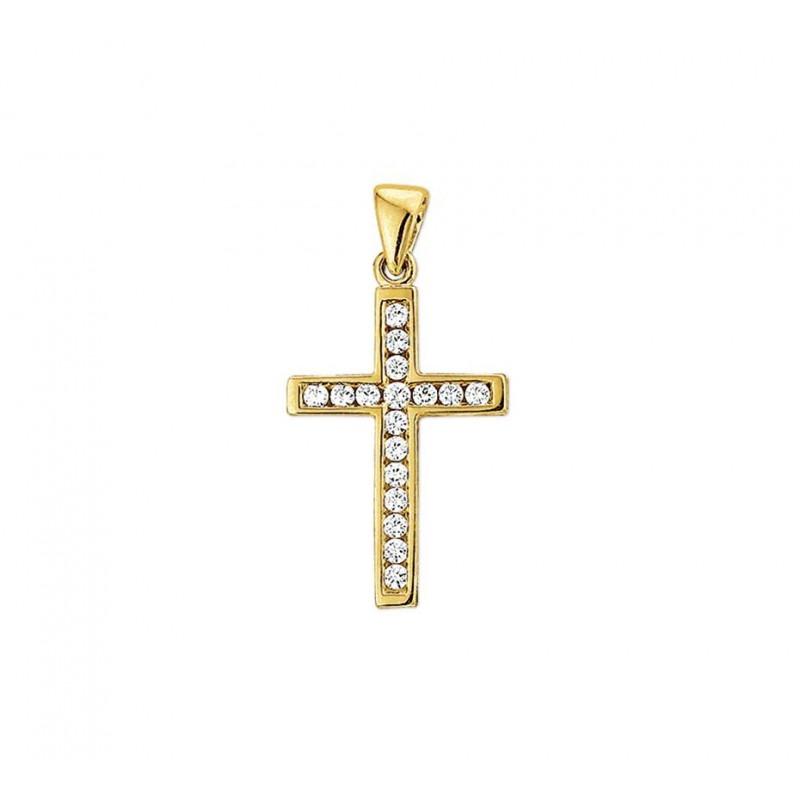Gouden kruis hanger zirkonia massief