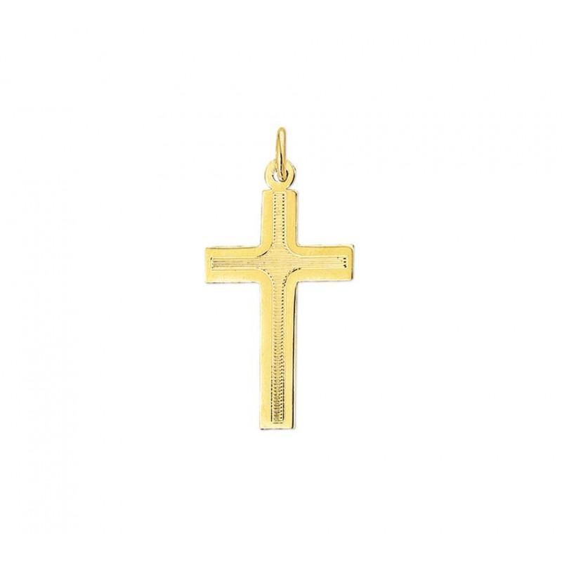 Gouden kruis massief met bewerking