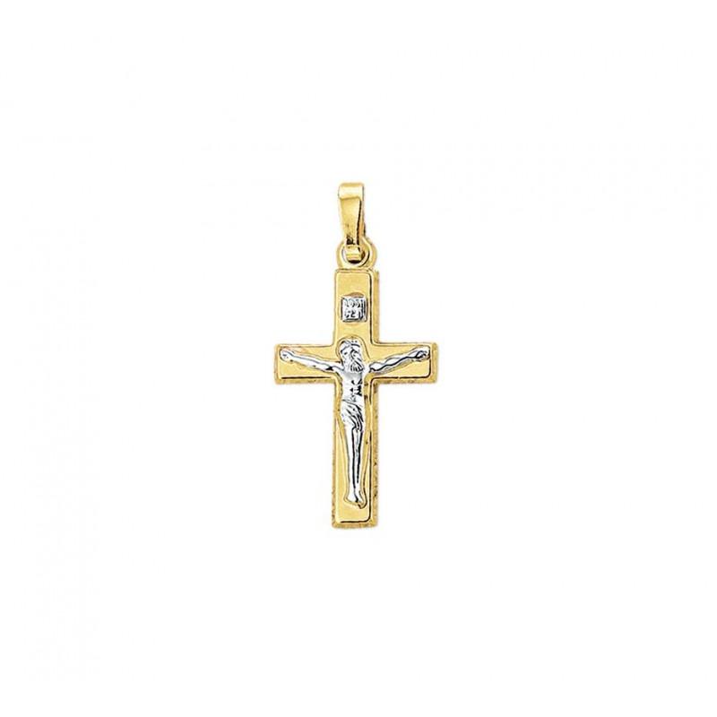Gouden kruisje 14-karaat met witgouden corpus