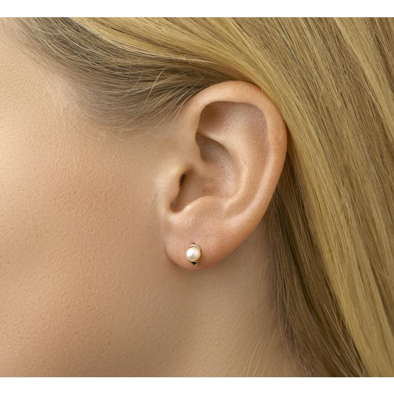 Gouden parel oorbellen 4 mm