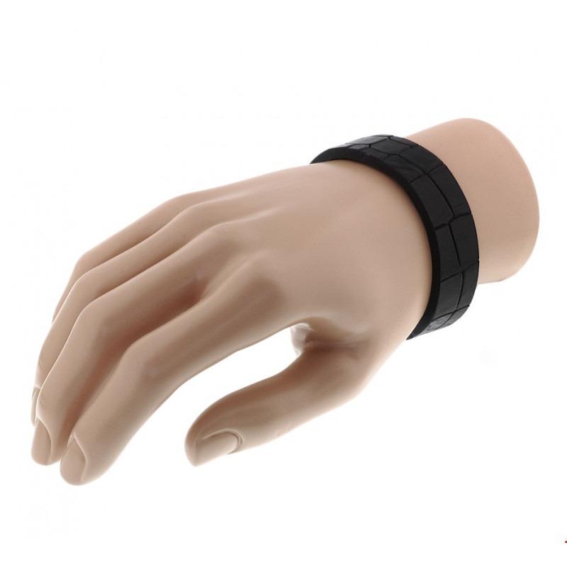 Leren heren armband met kliksluiting