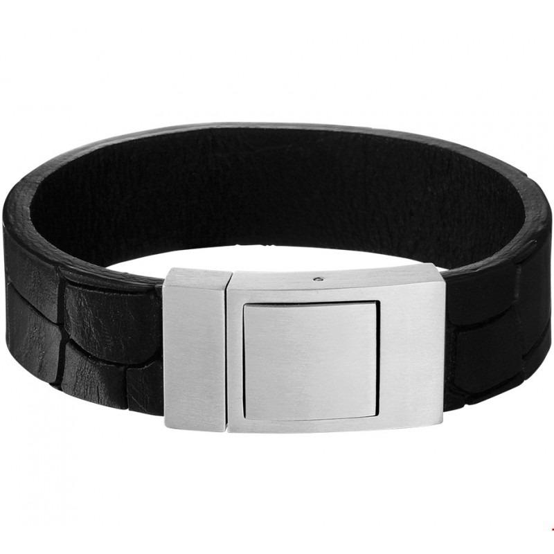 leren heren armband met kliksluiting | mostert juweliers