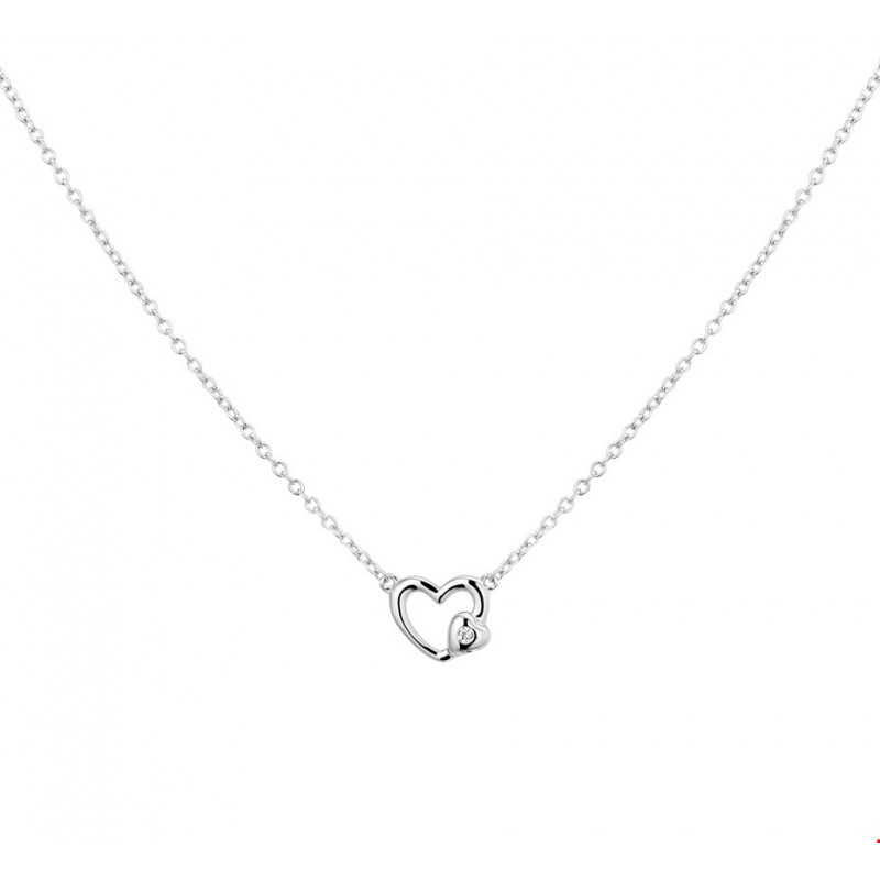 Ongekend Open zilveren hartjes ketting plus klein hartje met zirkonia ED-86