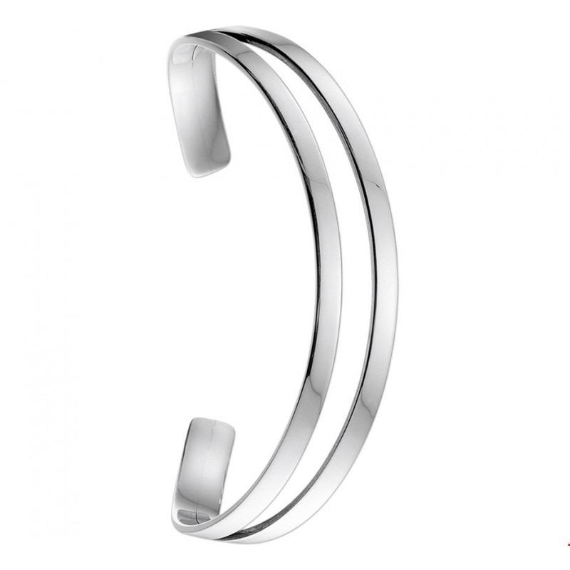 Opengewerkte spang armband zilver