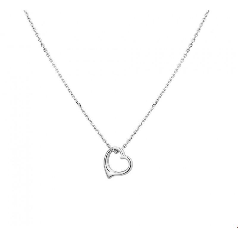 Super Sierlijk open zilveren ketting met hartje 41-45 cm   Mostert Juweliers ZM-47