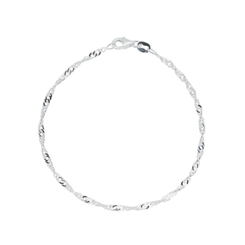 Zilveren damesarmband met singapore schakel 2mm