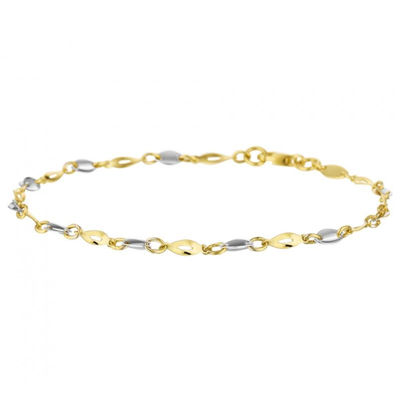 Modern gouden armbandje van twee kleuren goud