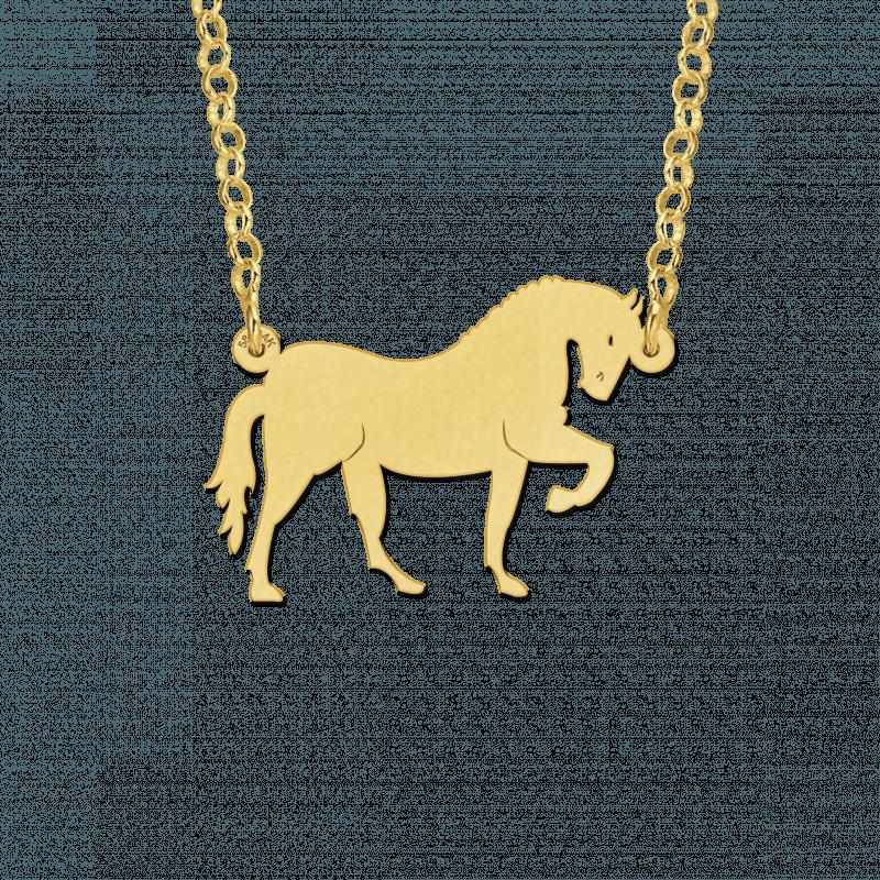 Gouden paard hanger aan ketting