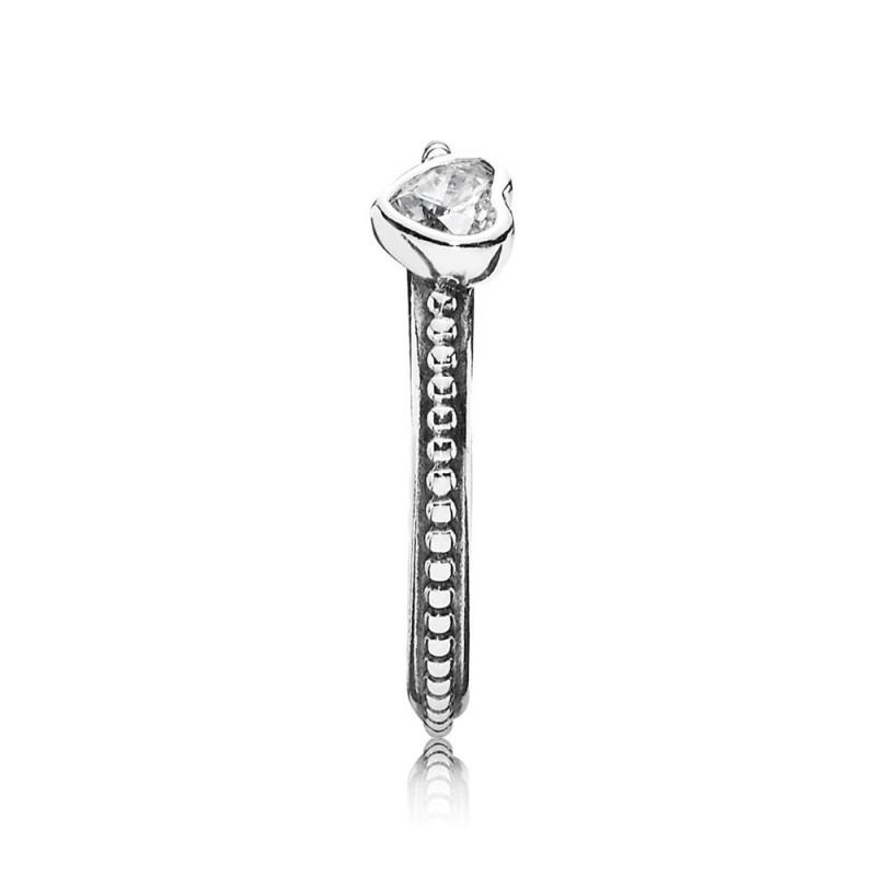 PANDORA fijne ring met hartje 190896CZ