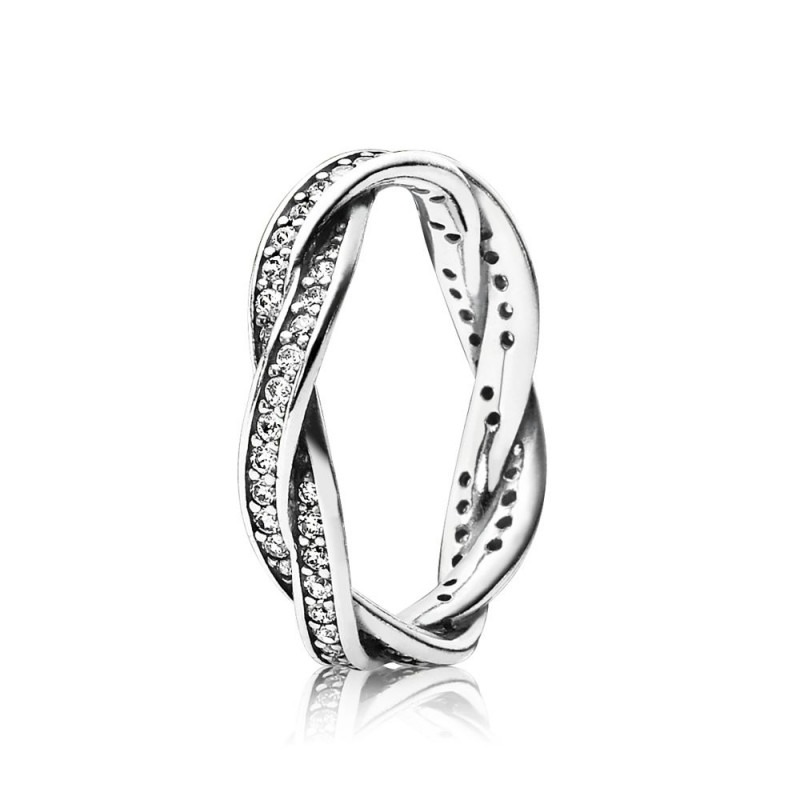 PANDORA gevlochten pavé gezette ring 190892CZ