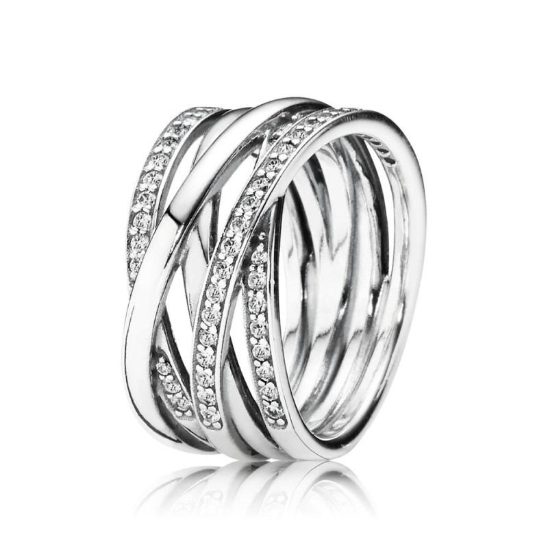 PANDORA ineengevlochten zilveren ringen 190919CZ