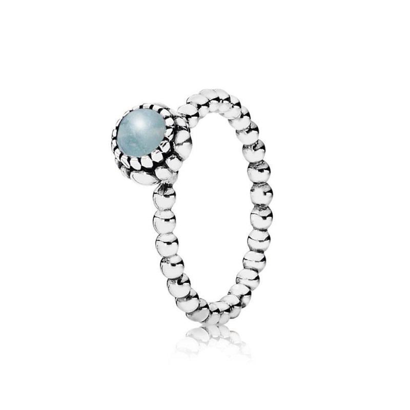 PANDORA ring met geboortesteen maart 190854AQ