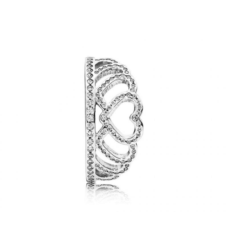 PANDORA ring met hartjes kroon 190958CZ