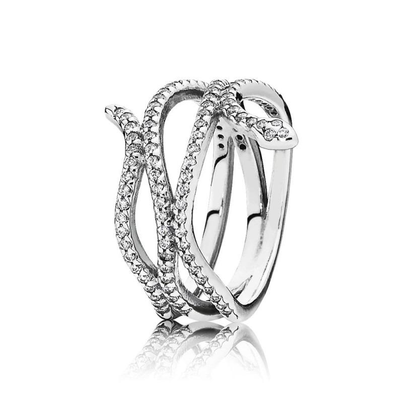 PANDORA sierlijke slangen ring 190954CZ
