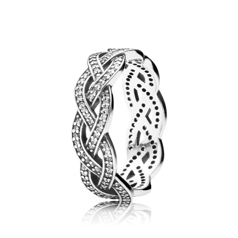 PANDORA sprankelende zilveren gevlochten ring 190913CZ