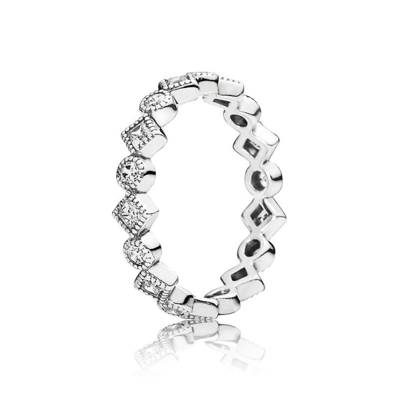 PANDORA zilveren ring met ronde en vierkante eternity en zirkonia 190943CZ