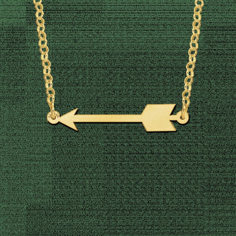Gouden pijl hanger aan ketting
