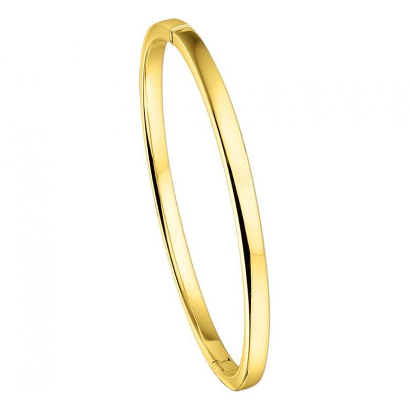 Vlakke gouden slavenarmband 4 mm en 60 mm doorsnede
