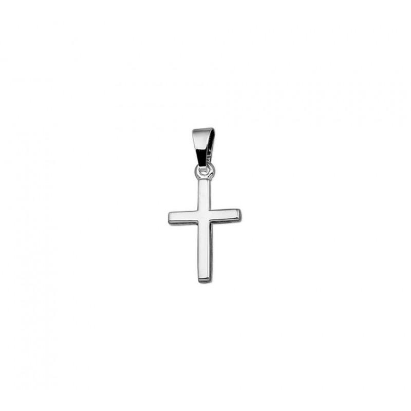 Witgouden hanger kruis hol glanzend