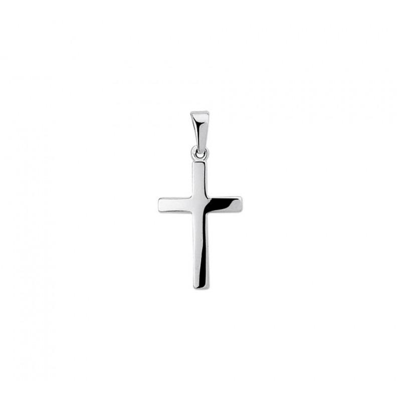 Witgouden kruis hanger glanzend