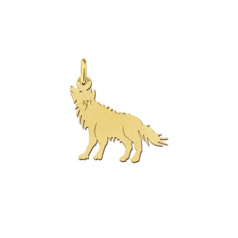 Gouden wolf hanger