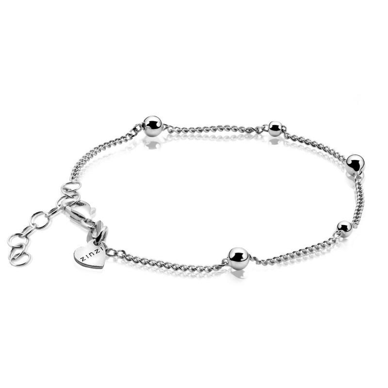 Zinzi zilveren gourmet armband met bolletjes ZIA987
