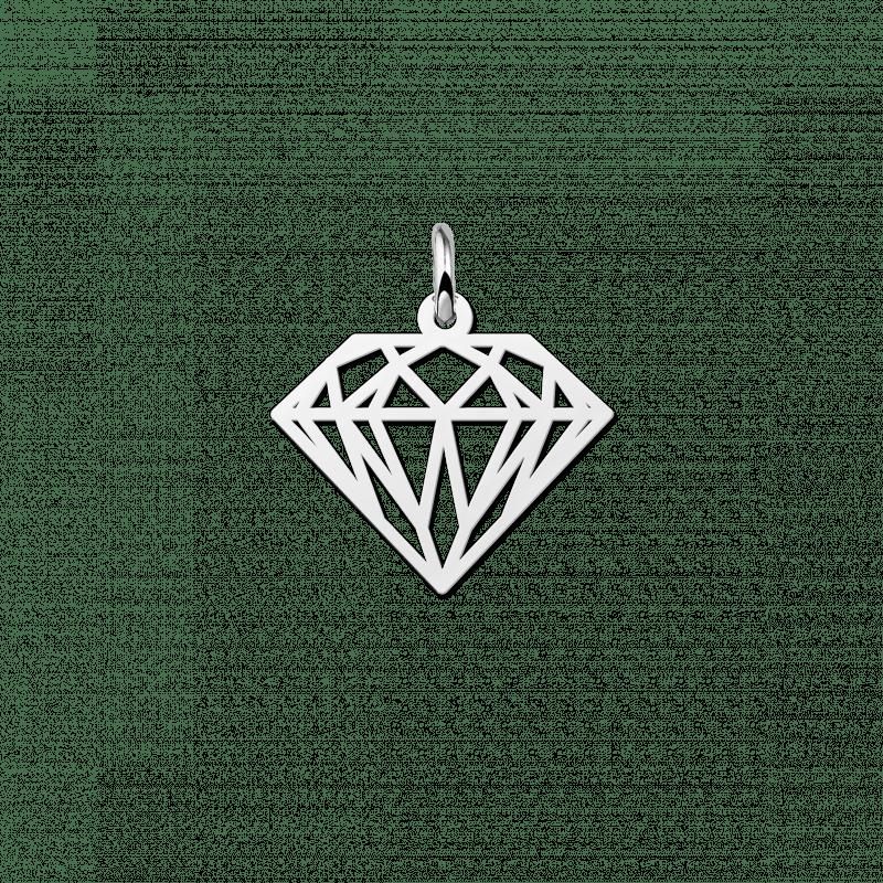 Geometrische hanger van zilver diamant