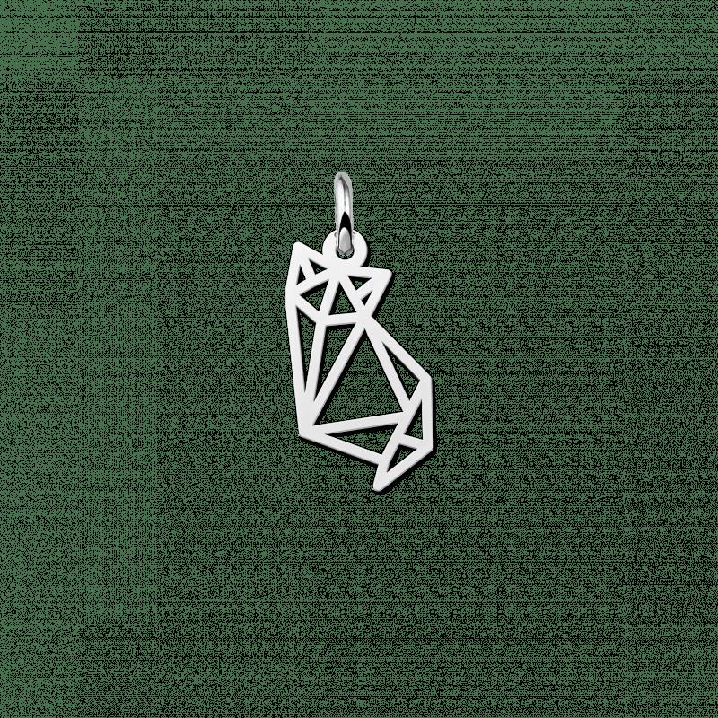 Geometrische hanger van zilver kitten zittend