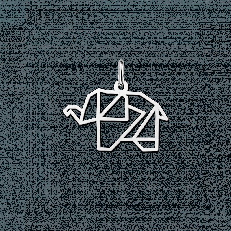 Geometrische hanger van zilver olifant