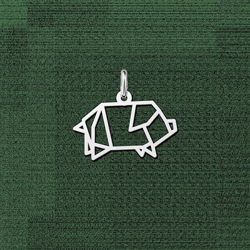 Geometrische hanger van zilver varkentje