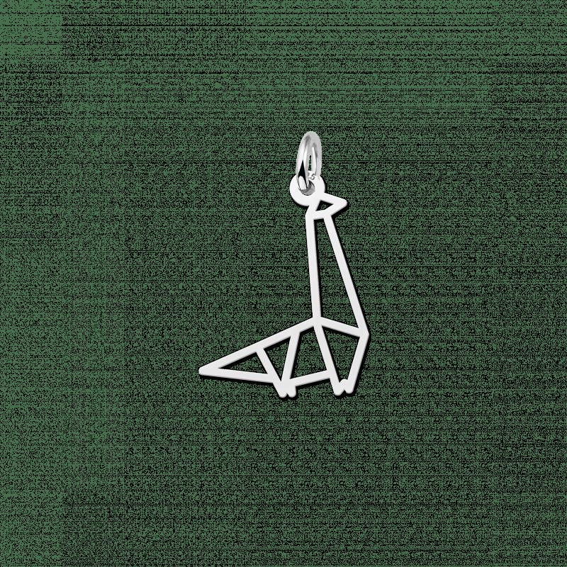 Geometrische hanger zilver dinosaurus