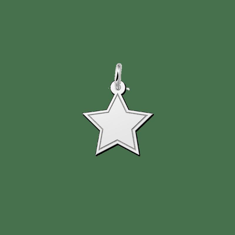 Zilveren gegraveerde ster hanger