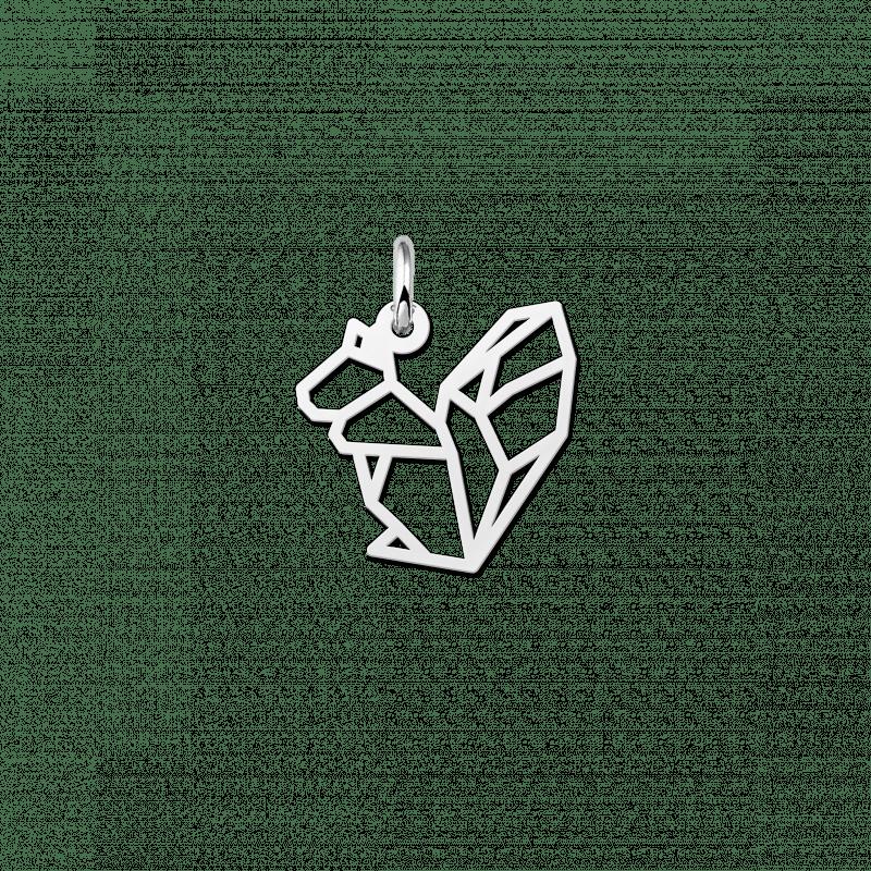 Zilveren geometrische hanger eekhoorn