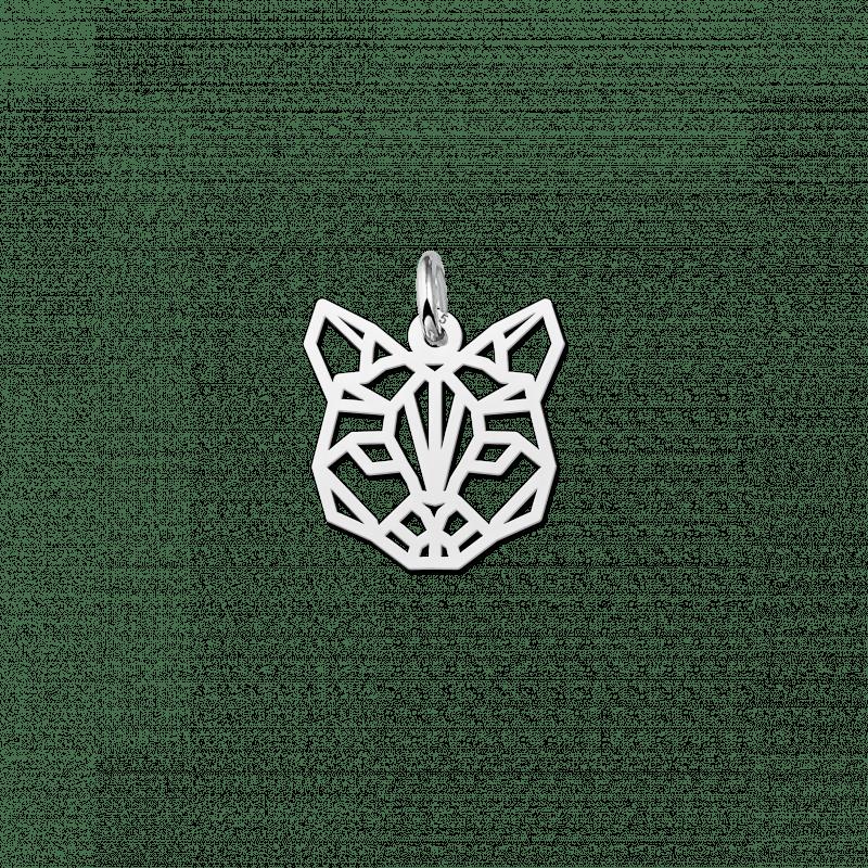 Zilveren geometrische hanger kat