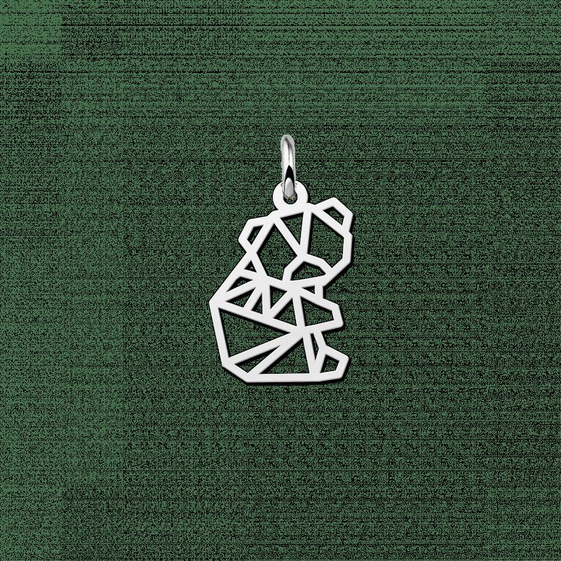 Zilveren geometrische hanger klein beertje