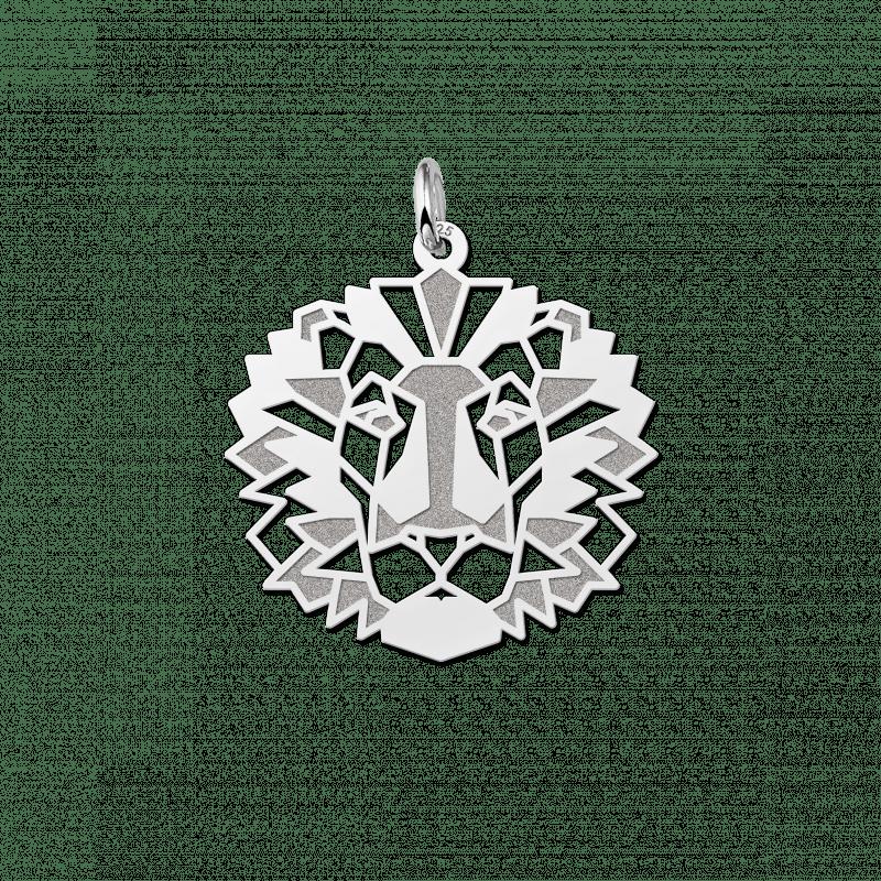 Zilveren geometrische hanger leeuw